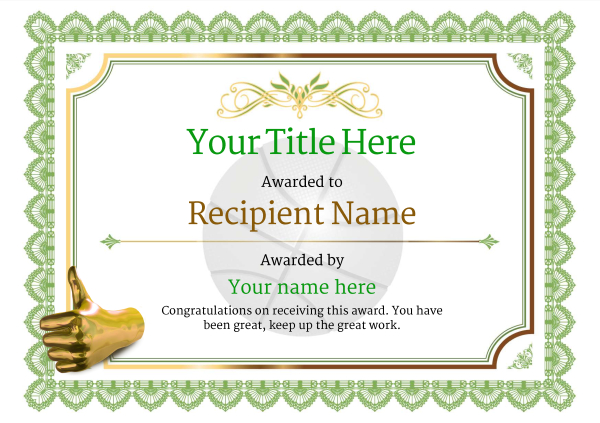 Free Basketball Certificate templates - Add Printable Badges  Medals - blank certificate of recognition