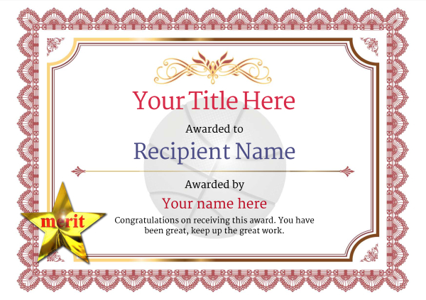 Free Basketball Certificate templates - Add Printable Badges \ Medals - merit certificate template
