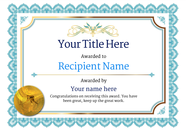 Free Hockey Certificate templates - Add Printable Badges  Medals