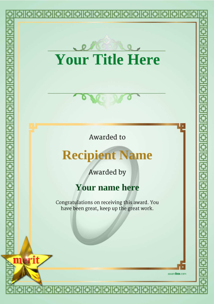 Free Rugby Certificate templates - Add Printable Badges \ Medals - merit certificate template