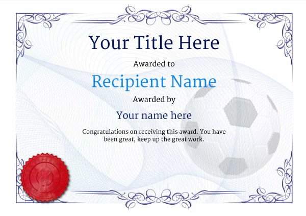 Free UK Football Certificate templates - Add Printable Badges  Medals - football certificate template