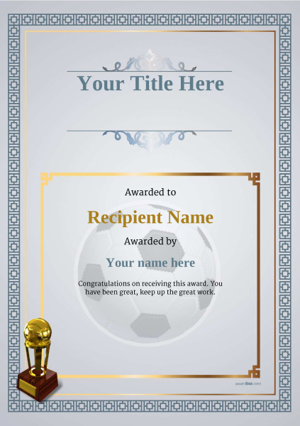 Free Soccer Certificate templates - Add Printable Badges  Medals