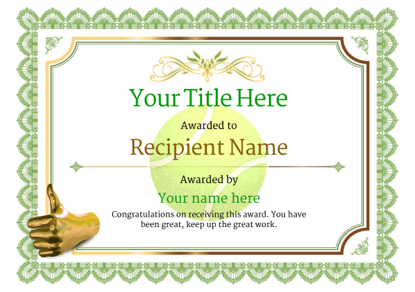 Free Tennis Certificate templates - Add Printable Badges  Medals - congratulations certificate template