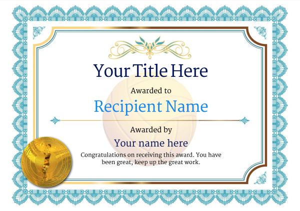 Free Volleyball Certificate templates - Add Printable Badges  Medals