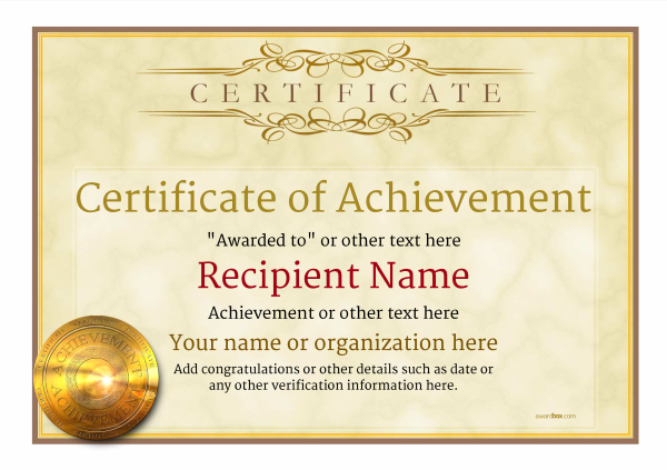 Certificate of Achievement - Free Templates easy to use Download  Print - Certification Templates