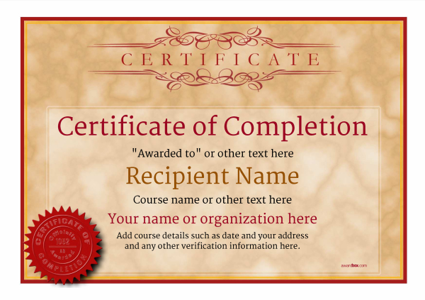 Certificate of Completion - Free Quality Printable Templates  download - certificate of completion template free