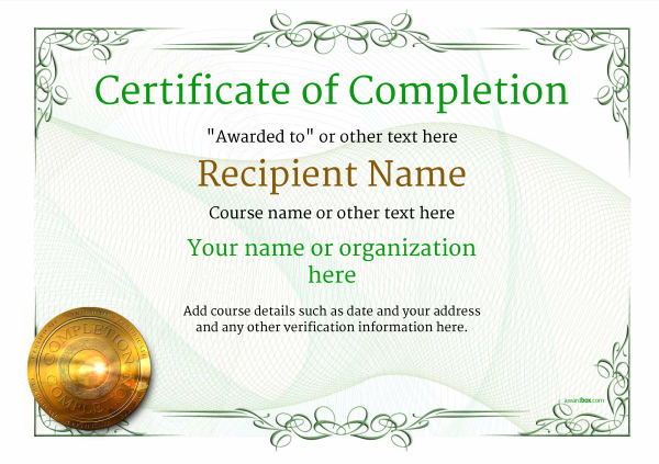 Certificate of Completion - Free Quality Printable Templates  download - free template for certificate
