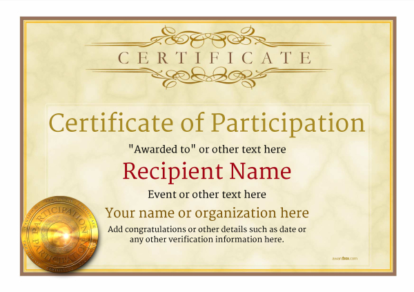 Participation Certificate Templates - Free, Printable, Add badges - certificate of participation template