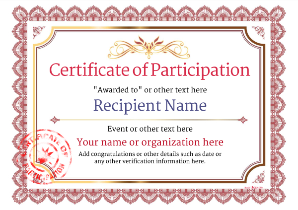 Participation Certificate Templates - Free, Printable, Add badges - certification templates