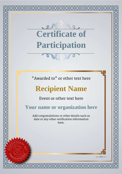 Participation Certificate Templates - Free, Printable, Add badges - certificate of participation format