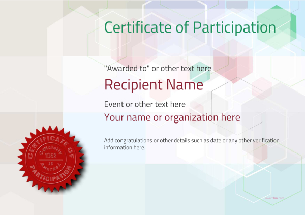 Participation Certificate Templates - Free, Printable, Add badges - certificates templates