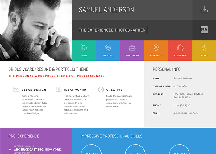 Gridus vCard  CV Resume WordPress theme - Awwwards Nominee - resume wordpress theme