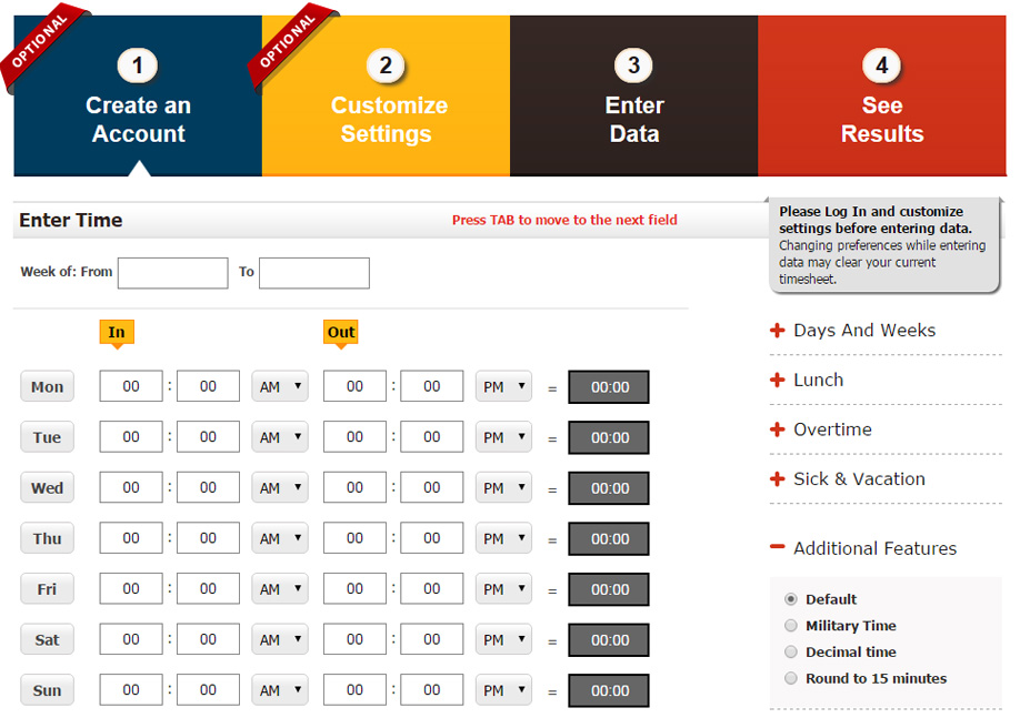 Time Card Calculator Geek - Awwwards Nominee - time card calculator