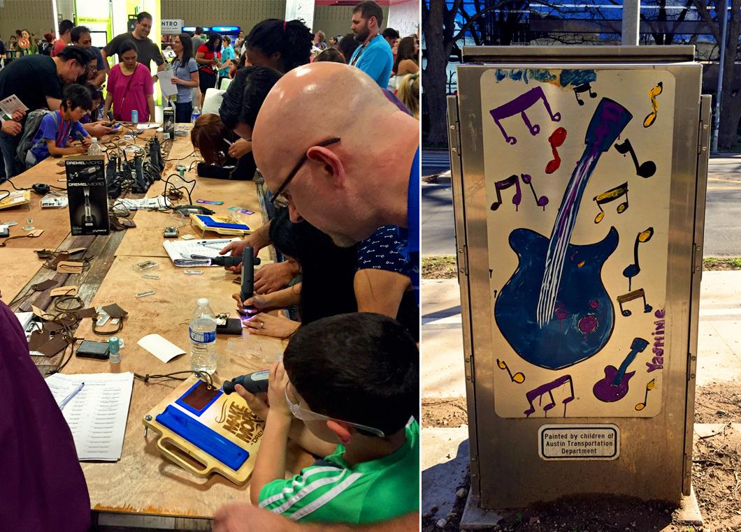 Crianças em oficina usando robôs e madeiras; e painel pintado por crianças para enfeitar Austin