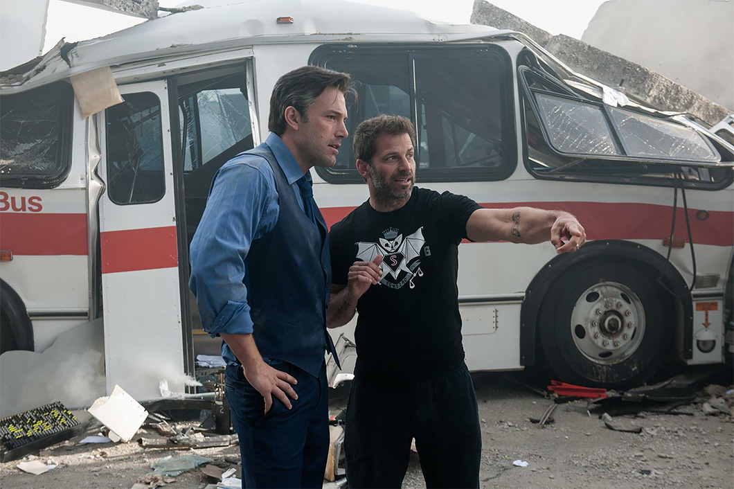 Ben Affleck e Zack Snider no set