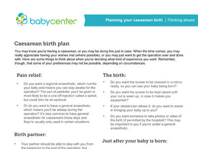 Caesarean sections an overview - BabyCenter Australia - c section birth plan