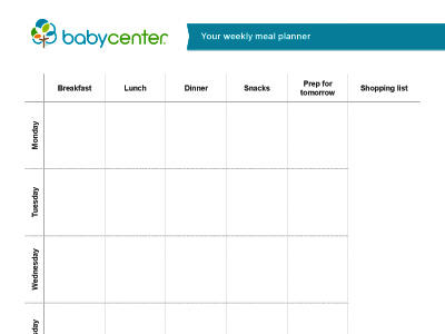 Printable meal planner - BabyCenter India