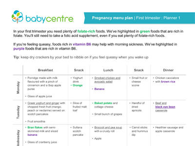 Pregnancy meal planners trimester by trimester - BabyCentre UK