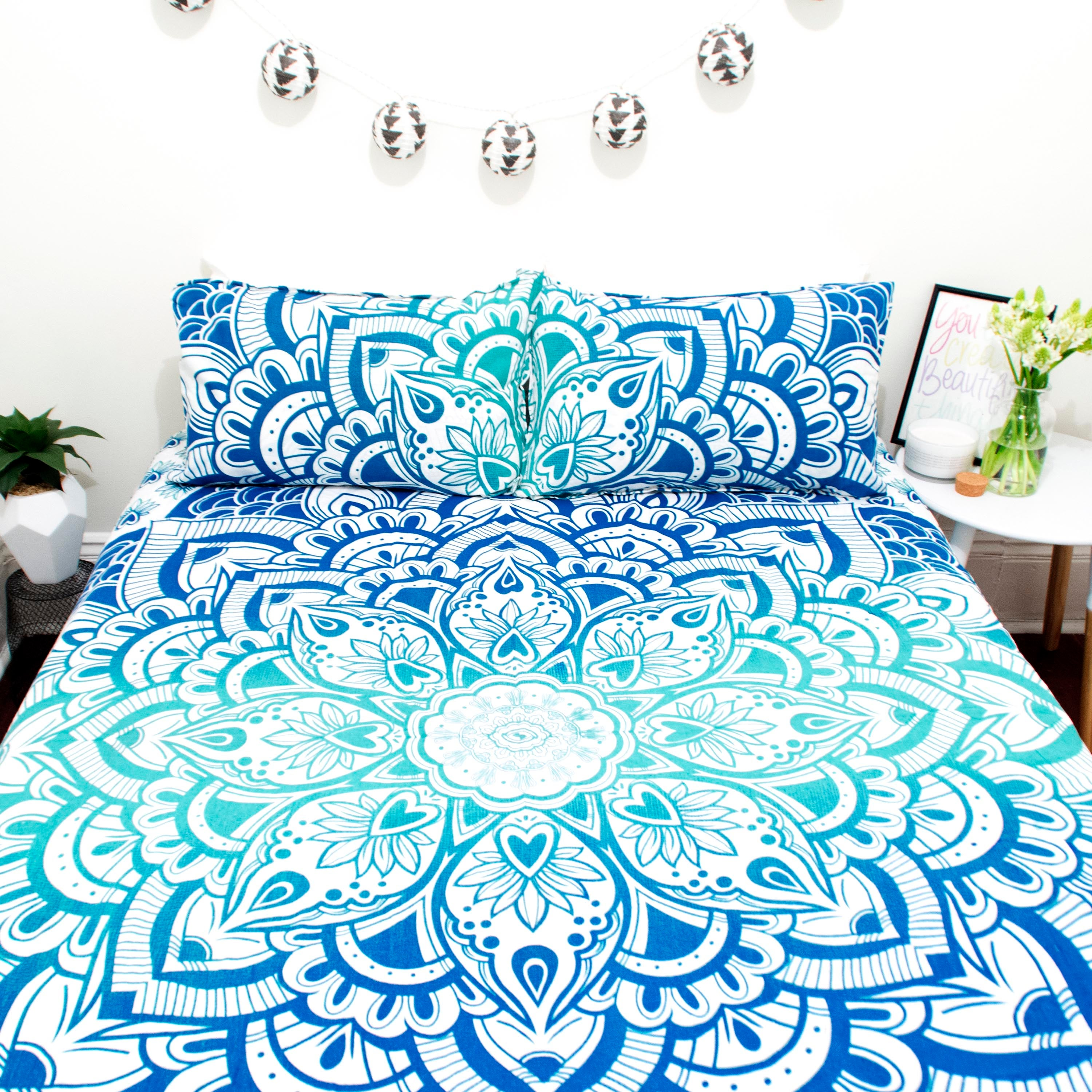 Boho Bedding Australia Blue Ombre Lotus Doona Set Marked Down From 110 Now