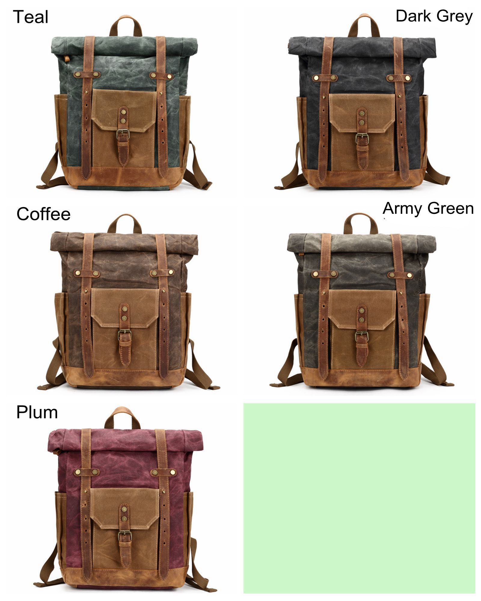 Travel Rucksack Waxed Canvas Backpack Rucksack Travel Backpack 8808
