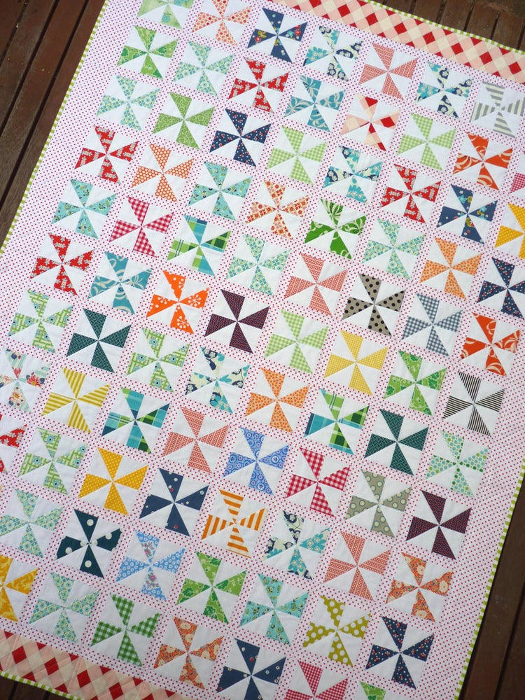 Quilt Binding Pinwheels On Parade Quilt Pattern (pdf File) / Red Pepper
