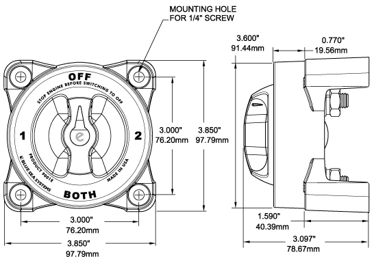 dimensions for hdseries battery switch single circuit on off