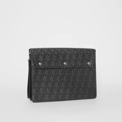 Porte Document Cuir Homme Porte Documents En Cuir Monogram à Triple Pression Noir Homme Burberry