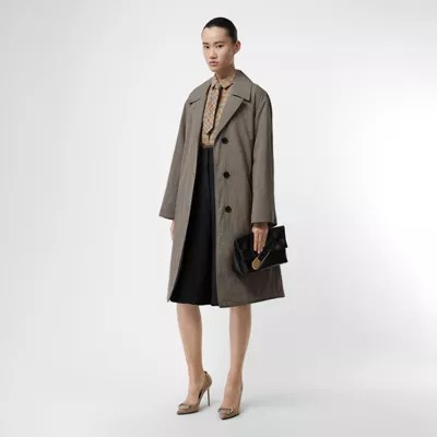 Oversize Mantel Oversize Mantel Aus Wolle Mit Karomuster Taupe Damen Burberry