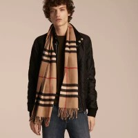 The Classic Check Cashmere Scarf in Camel | Burberry Canada