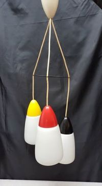 Retro Pendant lamp with crystal lamp shades, red-yellow ...