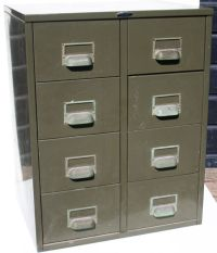 Two Industrial storage cabinets with 8 drawers, Charleroi ...