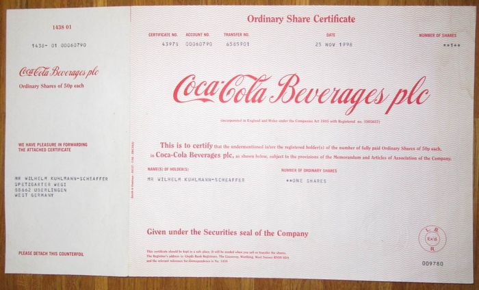 UK Great Britain USA - Coca-Cola Beverages plc - Share Certificate - Company Share Certificates