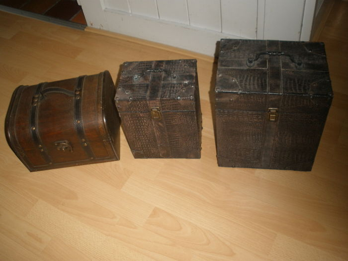 Three Beautiful Wooden Wine Boxes Two Are Also Lined With
