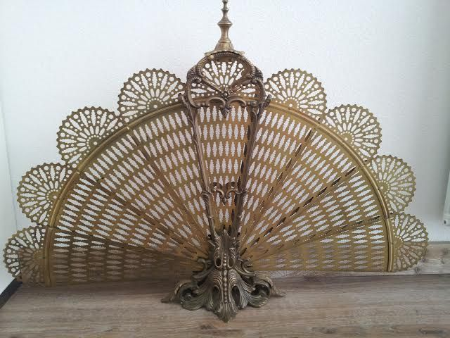 Particular Brass Fireplace Screen In A Fan Shape Peacock