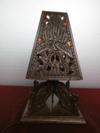 Indian hand made wooden table lamp - Catawiki