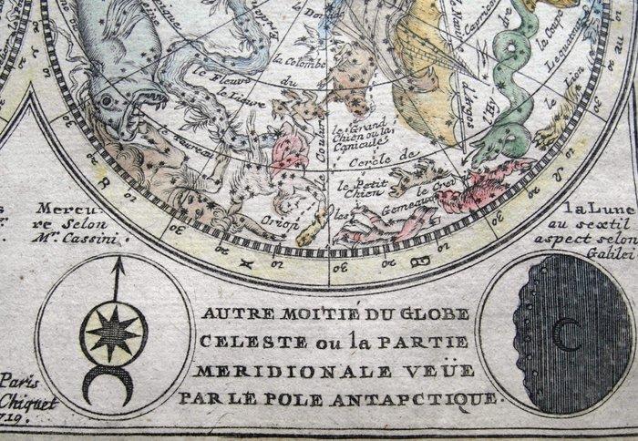 Celestial; J Chiquet - Le Globe Celeste Representé de Deux Plans - celestial aspect