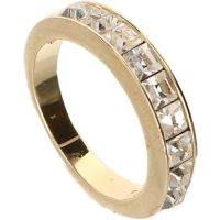 Swarovski - Gold-coloured ring set with 9 baguette cut ...
