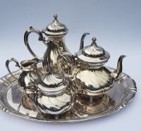 Heavy silver plated coffee and tea set on tray - WMF ...