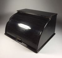Black wooden file cabinet with roller shutter - Catawiki