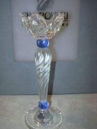 Swarovski - Candle holder Blue Flowers. - Catawiki