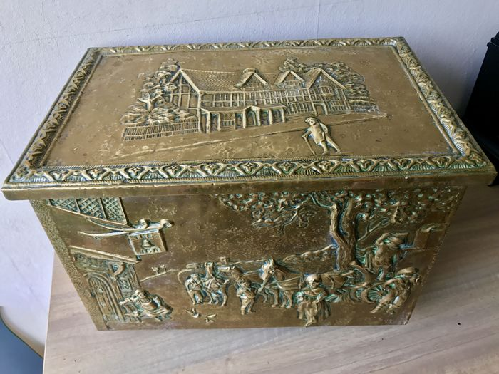 Carved Antique Copper Peat Coal Container Catawiki