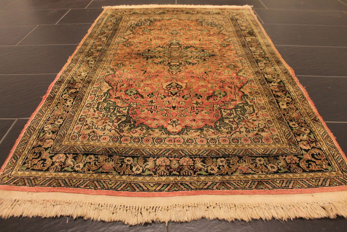 A Spectacular Hand Woven Cashmere Silk Carpet Qom