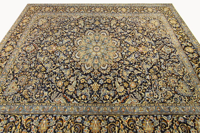 Fine Persian Carpet Kashan 362 X 276 Blue Handwoven