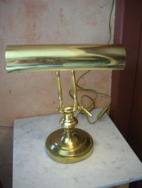 Unknown designer  Vintage, adjustable brass banker's lamp