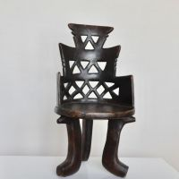 Heavy authentic vintage hand-carved wooden African throne ...
