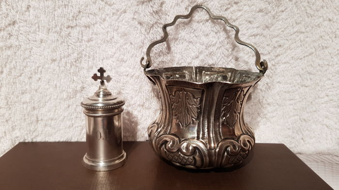 Molten Silver Ointment Holder And Embossed Silver Holy