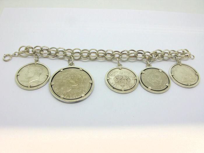 800 Silver Bracelet With 5 Silver World Coins America
