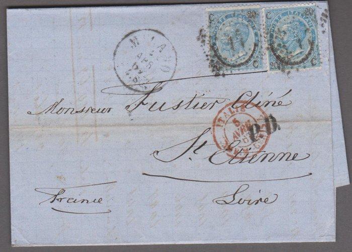 Italy 1867 - Horseshoe 2 types on envelope - Sassone 25+23 - Catawiki