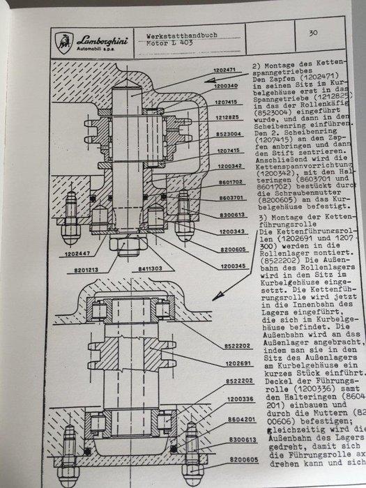 Books - Lamborghini Engine Repair manual V12 L 403 Engine - 1966