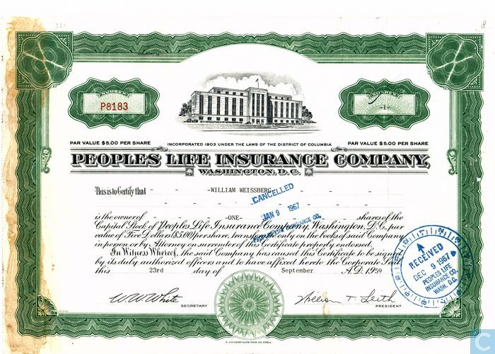 Peoples Life Insurance Company, Share certificate, Capital stock